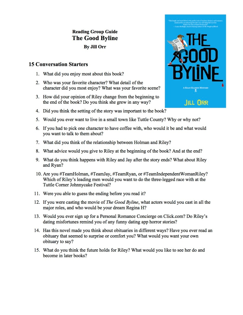 Reading Group Guide Good Byline PDF